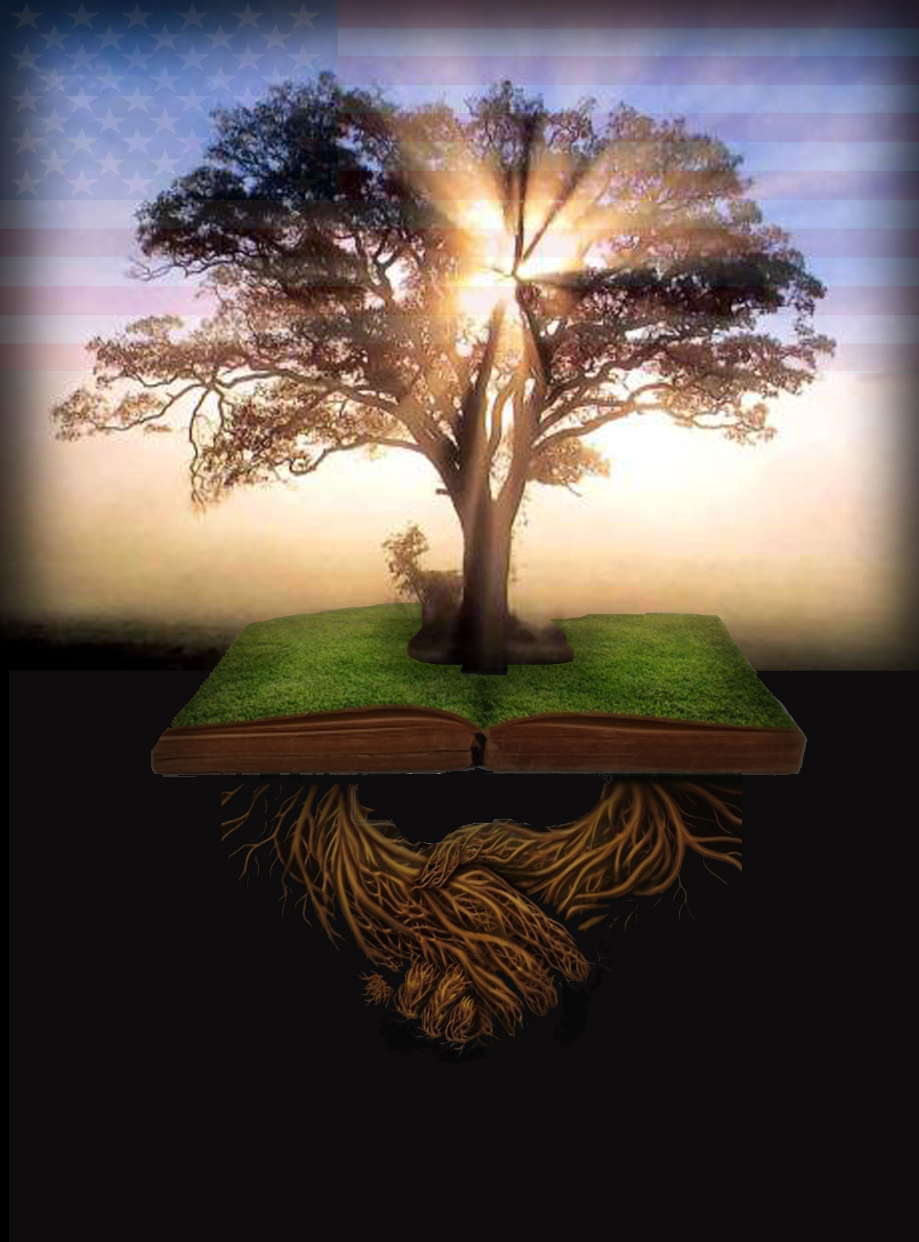 Tree, Flag, Book, Roots